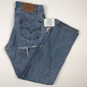 Levi's 505 Regular Fit Straight Leg Butt Rip Jean